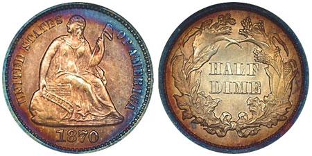 Liberty Seated Half Dime, Legend on Obverse